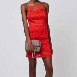 Topshop Red Lace High Neck Dress